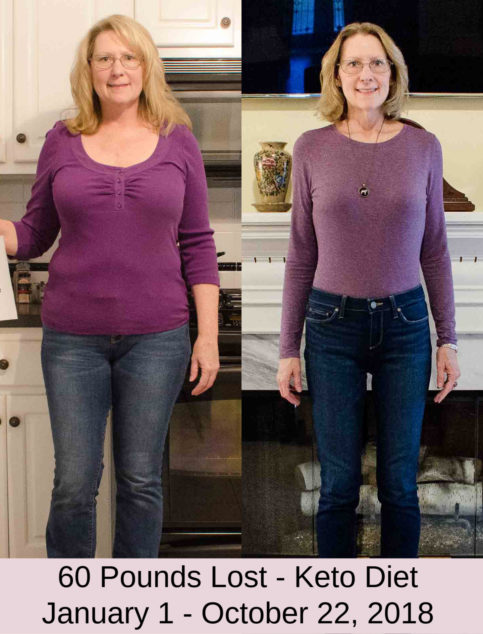 Collage of before and after woman losing 60 pounds