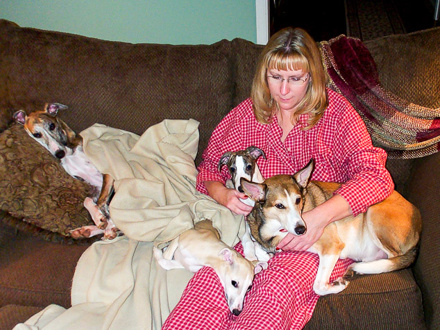 Woman and four dogs on a couch.