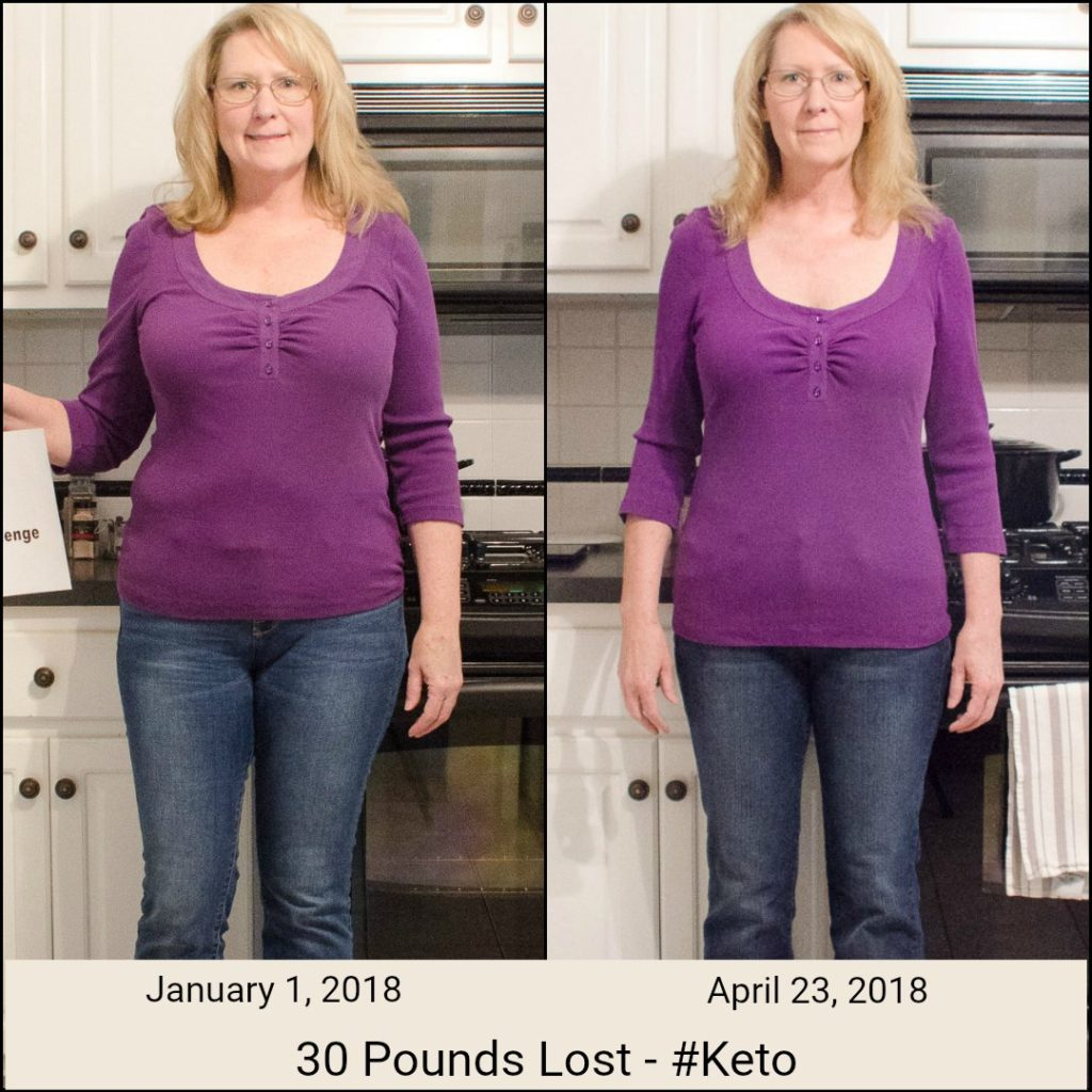 Before and after of woman losing 30 pounds on the Keto diet
