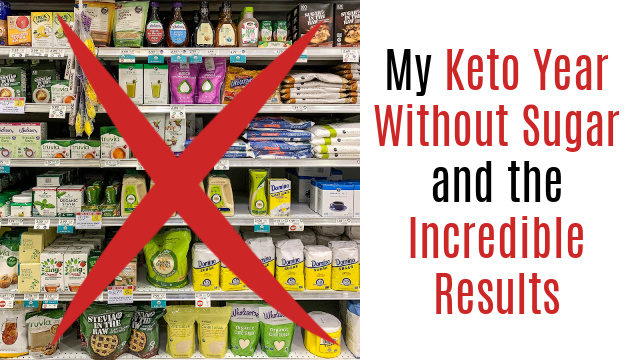 Sugar products on grocery shelves and text