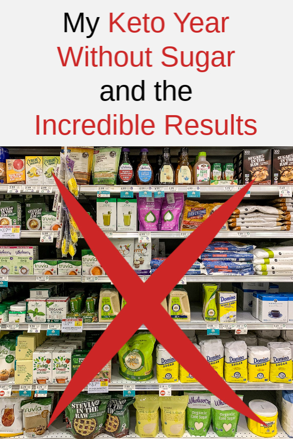 Assorted sugar products on grocery shelves with text above.