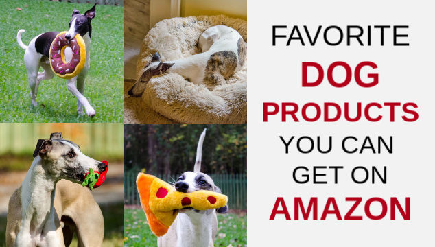 Collage of dog products on Amazon