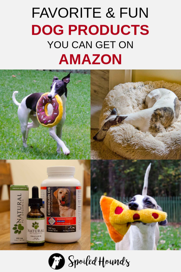Favorite dog products collage with 4 photos and text