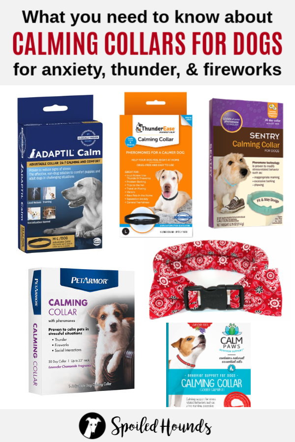 Collage of calming collars for dogs