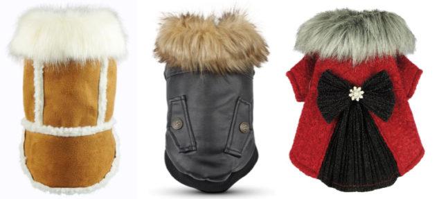 Three fancy winter dog coats