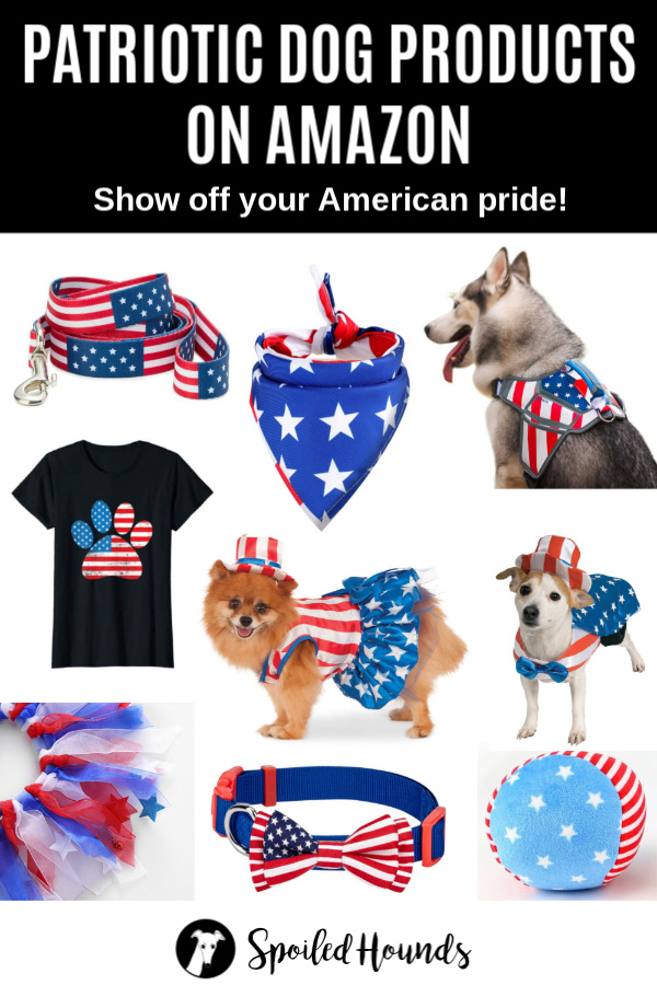 Collage of patriotic dog products on Amazon