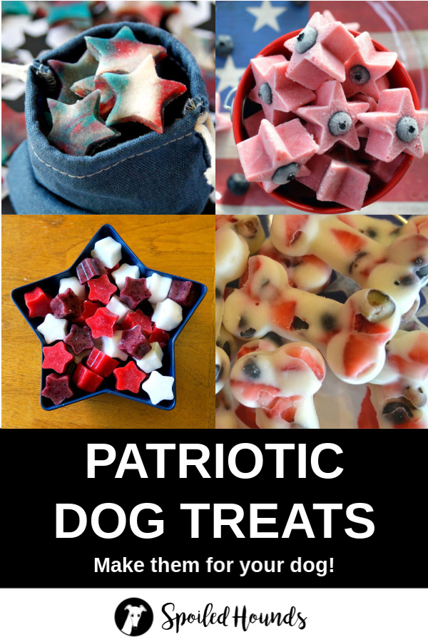 Collage of patriotic homemade dog treat recipes