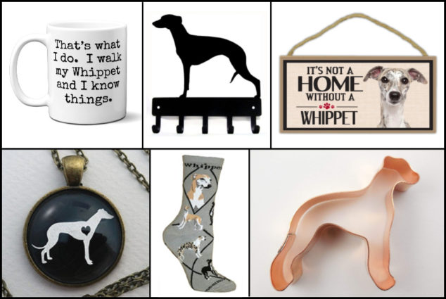 Collage of whippet dog gifts
