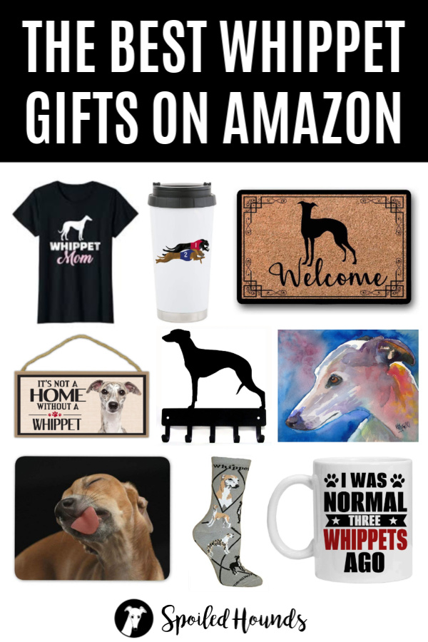 collage of whippet gifts on Amazon