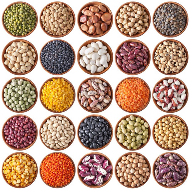 an assortment of beans in bowls