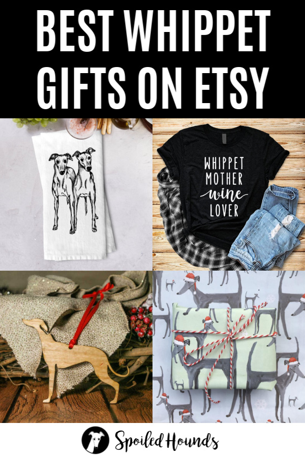 whippet lover gifts on Etsy photo collage