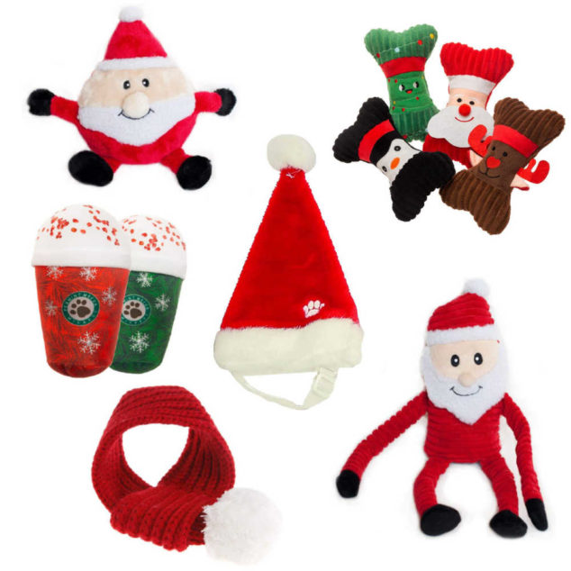 Collage of Christmas dog toys and accessories