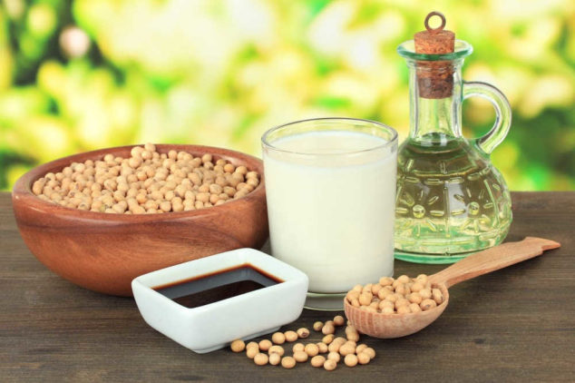 soy beans, sauce, milk, and oil