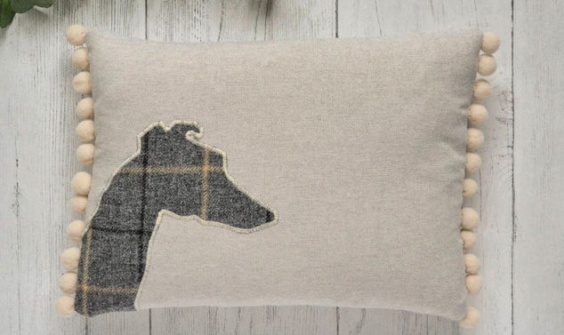 tweed whippet pillow