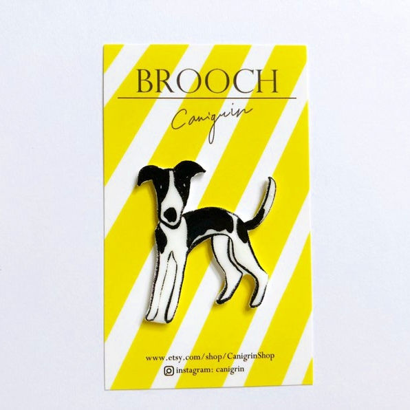 whippet brooch pin