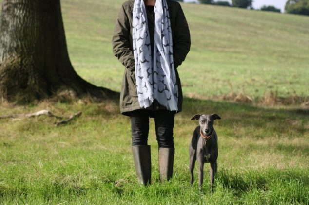 woman wearing a whippet print scarf