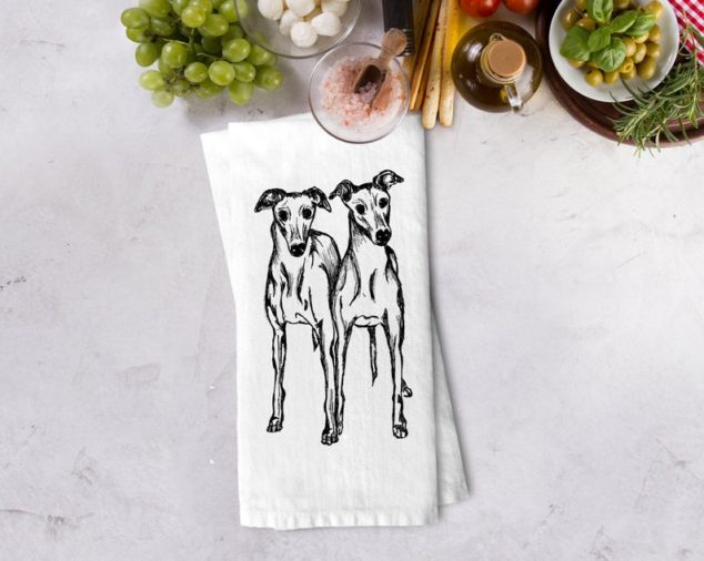 whippet print kitchen tea towel