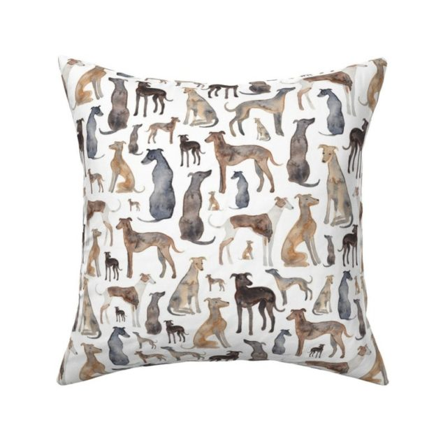 whippet print throw pillow