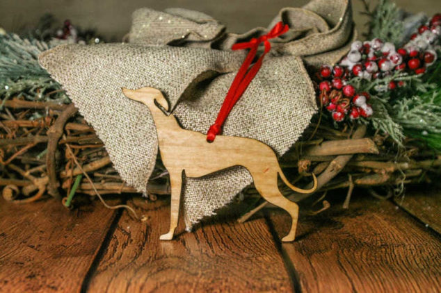 wood whippet Christmas ornament