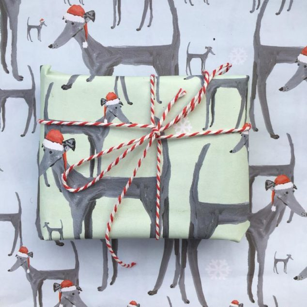 whippet print wrapping paper