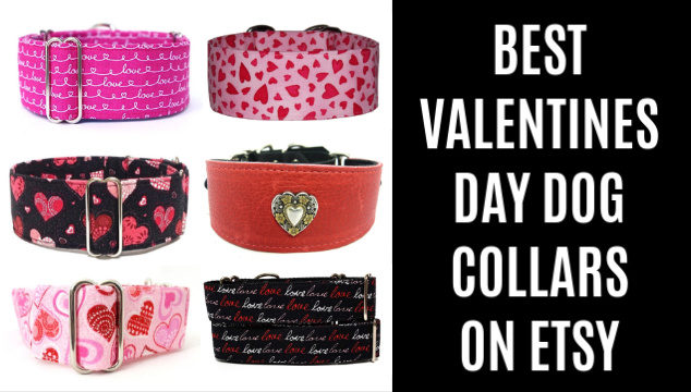 collage of valentines day dog collars on Etsy