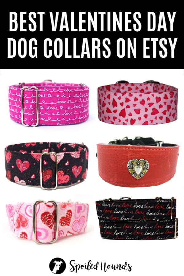 Valentines Day Dog Collars on Etsy collage