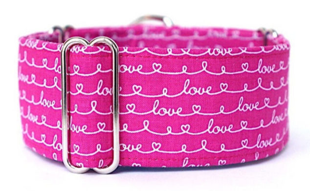 pink dog collar with love script