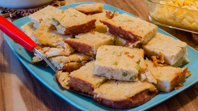 a platter of southern cornbread dressing