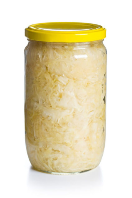 sauerkraut in a glass jar