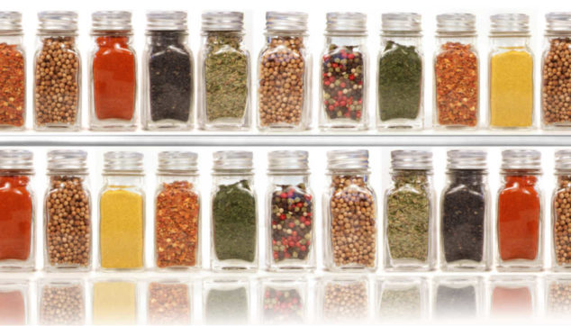 various spices in jars