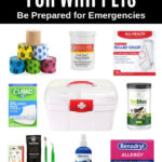 collage of supplies for a dog first aid kit