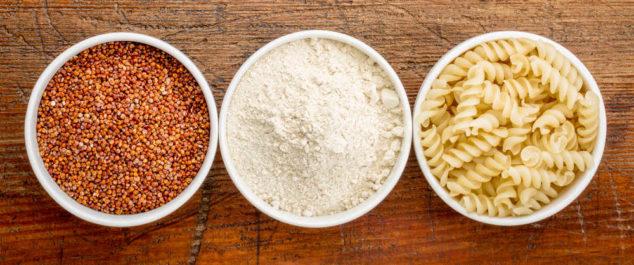 red quinoa, quinoa flour, and quinoa pasta