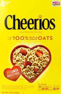 Cheerios cereal box