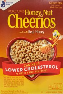 a box of Honey Nut Cheerios cereal