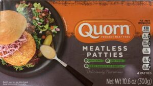 a package of Quorn meatless patties