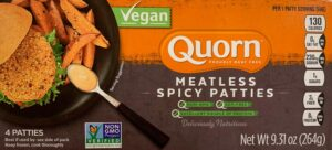 a package of Quorn Meatless Spicy Patties