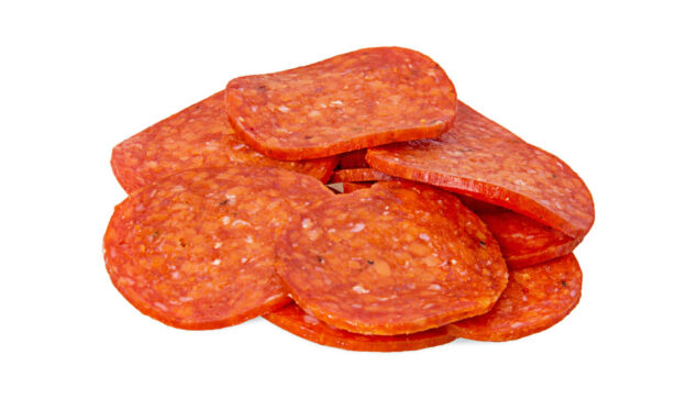 a stack of pepperoni slices