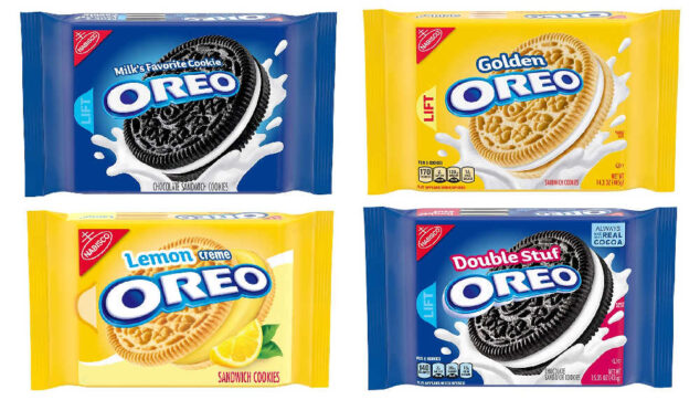 four packages of Oreo cookies