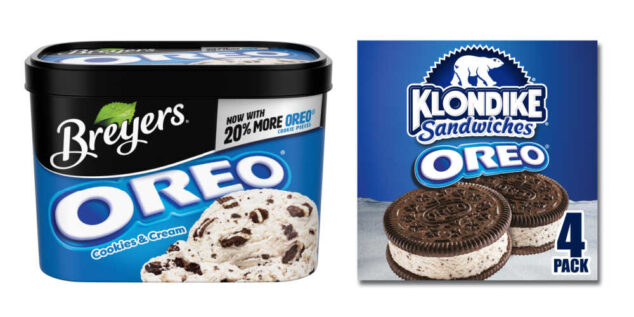 packages of Oreo ice cream and ice cream sandwiches