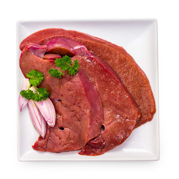 3 slices of veal liver on a plate