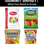four bags of gummy candy