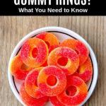 peach gummy rings in a bowl