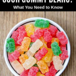sour gummy bears in a bowl