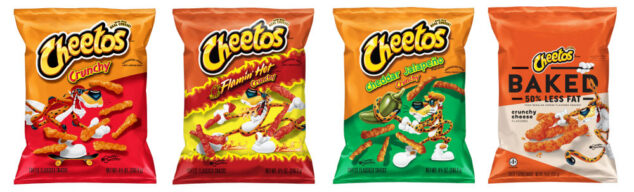 four bags of Cheetos flavors