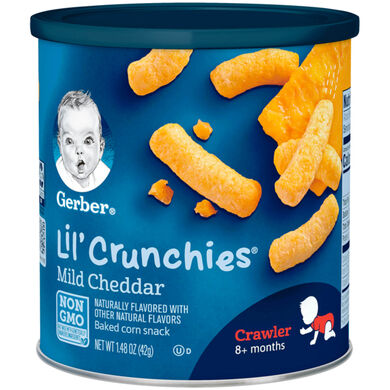 Gerber lil' crunchies mild cheddar cheese puffs package