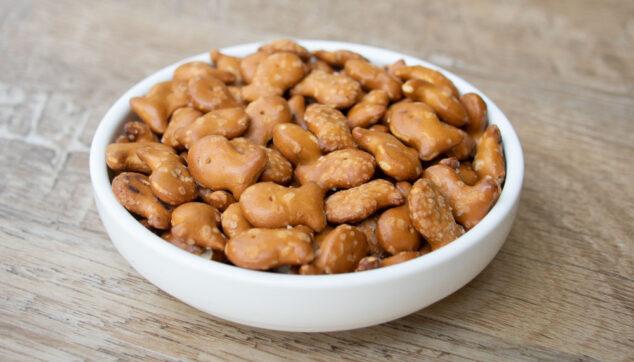 a bowl of pretzel goldfish