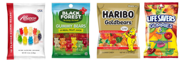 four packages of gummy candy