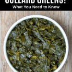 cooked collard greens in a white bowl