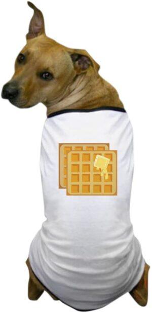 dog wearing a waffles shirt