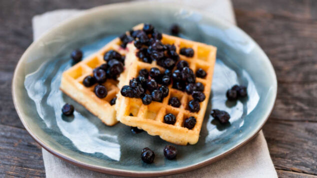 waffles with blueberries on a plate